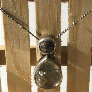 Kenneth Cole Teardrop Clear Stone Silver Necklace